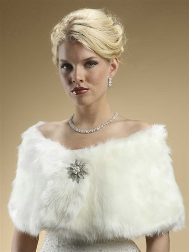 """The Deborah"" Faux Fur Wrap with Ivory Cream Fox - Sweet Heart Details"