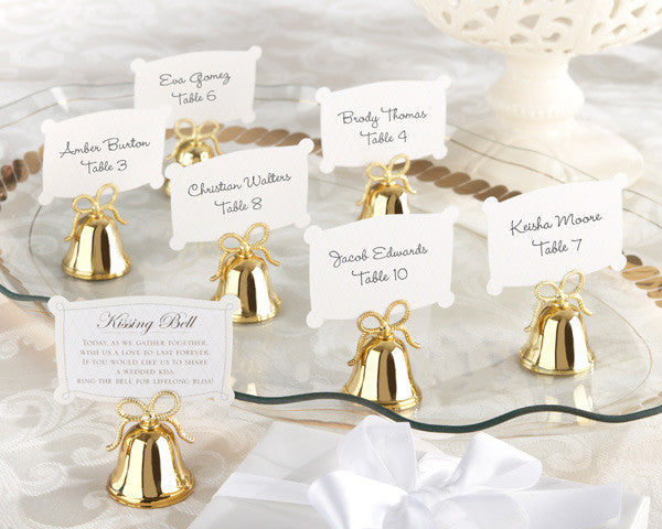 Gold Kissing Bells Place Card/Photo Holders