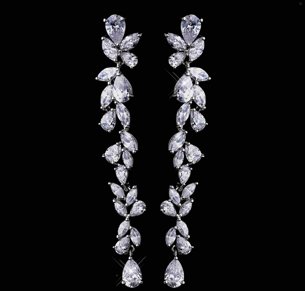 """The Brittany"" Dangling 'Diamond' CZ Earrings-Earrings-Wedding Factory-E-1303-S-CL-Sweet Heart Details"