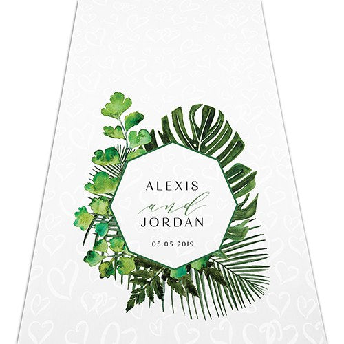 Greenery Personalized Aisle Runner - Sweet Heart Details