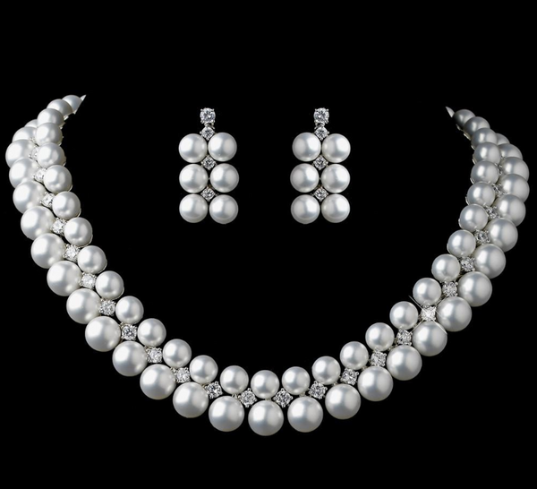"""The Kelly"" Rhodium White Pearl & CZ Necklace and Earring Set-Jewelry Sets-Wedding Factory-NE-1314-RD-DW-Sweet Heart Details"