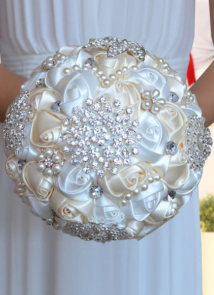 Hand Tied Bridal Bouquet with Rhinestones Pearls and Beaded Ribbons - Sweet Heart Details