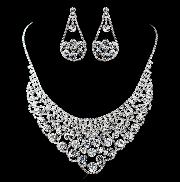 """The Morgan"" Silver Clear Rhinestone Necklace & Earrings Set"