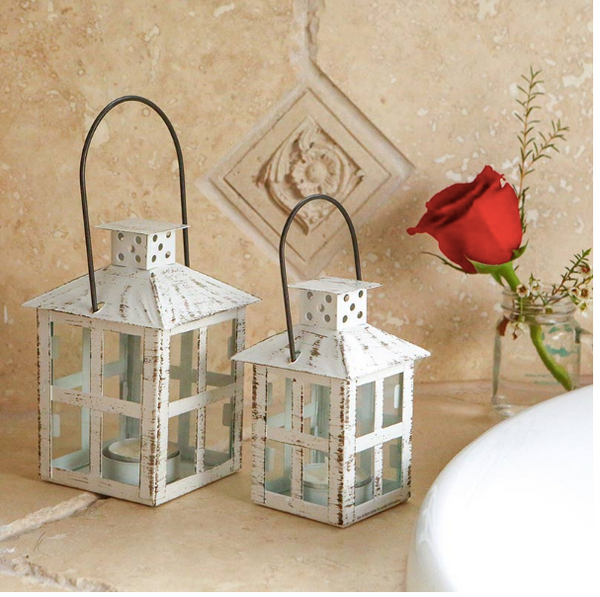 Vintage White Distressed Lanterns - Sweet Heart Details