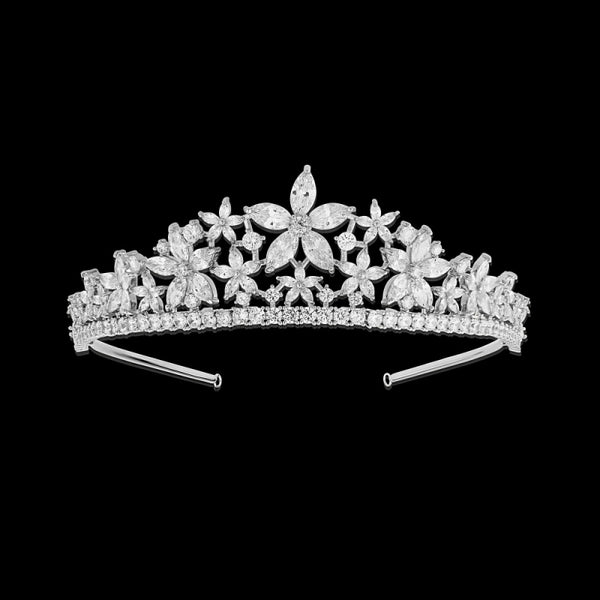 """The Stelya"" Floral Star CZ Tiara - Sweet Heart Details"