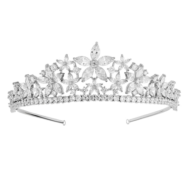 """The Stelya"" Floral Star CZ Tiara-Tiaras & Headbands-1637-Sweet Heart Details"