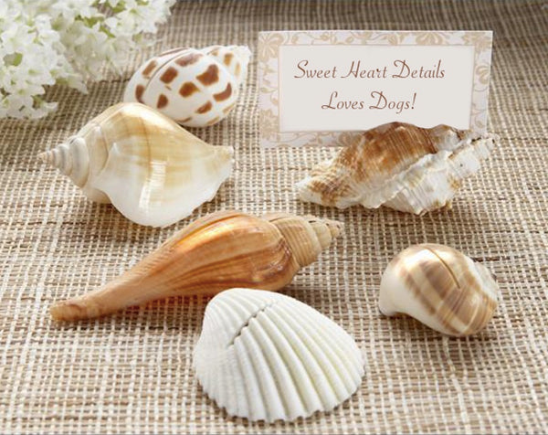 """Shells by the Sea"" Place Card Holders with Matching Place Cards - Sweet Heart Details"