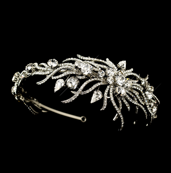 """The Courtney"" Silver Multi Cut Rhinestone Spiral Side Headpiece - Sweet Heart Details"