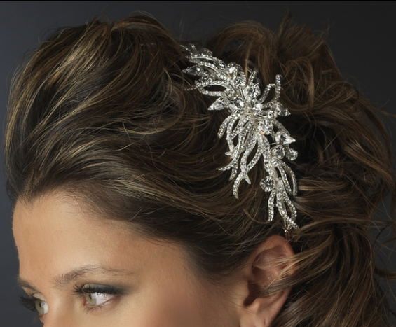 """The Courtney"" Silver Multi Cut Rhinestone Spiral Side Headpiece-Tiaras & Headbands-Wedding Factory-HP-1782-AS-CL-Sweet Heart Details"