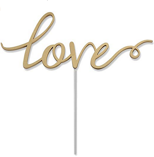 Set of Love Cake Toppers (2)-Cake Toppers-Kate Aspen-18092NA-Sweet Heart Details