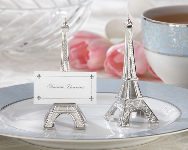 """Evening in Paris"" Eiffel Tower Silver-Finish Card Holder (sets of 4)-Placecard Holders-Kate Aspen-Sweet Heart Details"