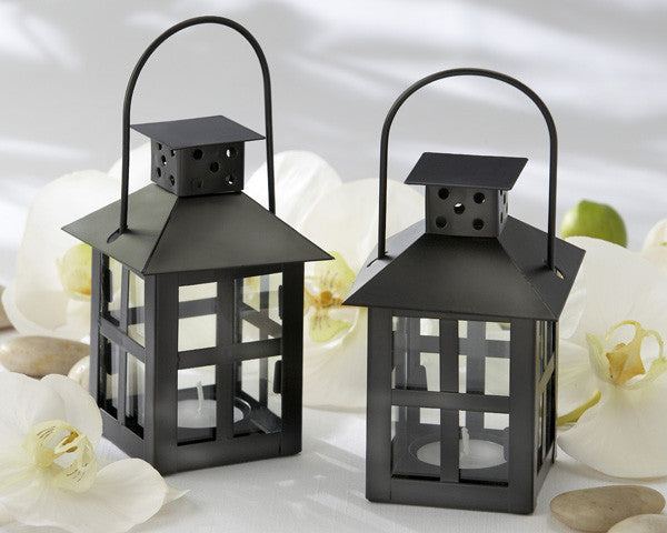 Luminous Black Mini-Lantern Tea Light Holders - Sweet Heart Details