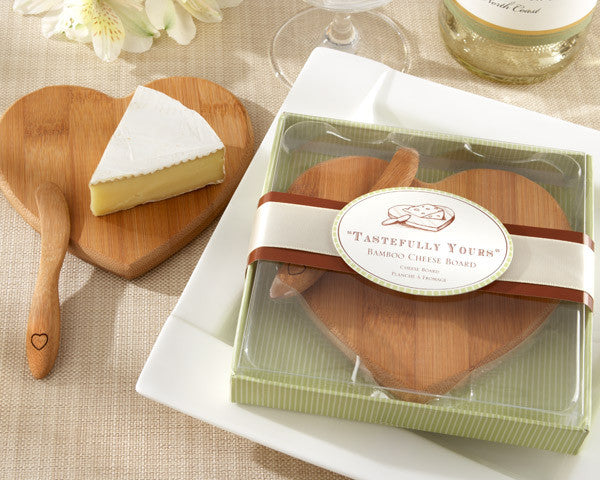 """Tastefully Yours"" Heart-Shaped Bamboo Cheese Board (set of 10) - Sweet Heart Details"