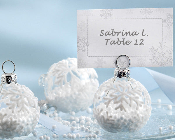 """Snow Flurry"" Flocked Glass Ornament Place Card/Photo Holders - Sweet Heart Details"