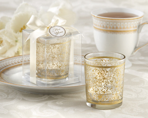 """Golden Renaissance"" Glass Tealight Holders (Set of 24) - Sweet Heart Details"
