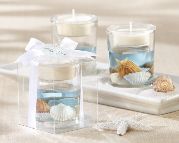 """Seashell"" Gel Tealight Holders (24)-Wedding Decorations-Kate Aspen-20125BL-Sweet Heart Details"