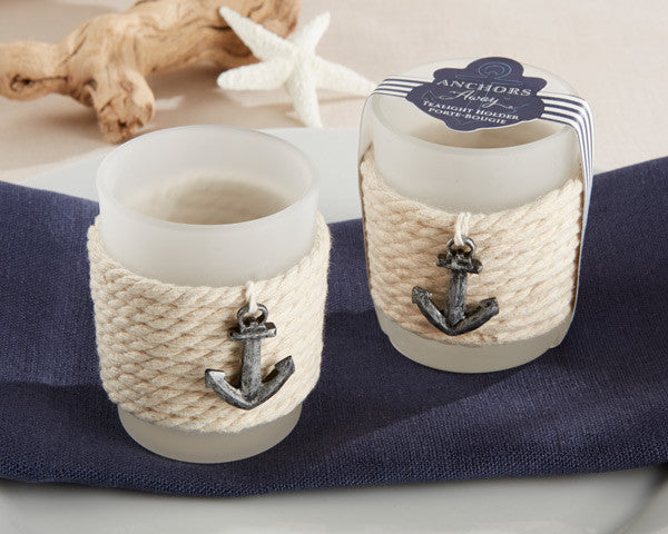 """Anchors Away"" Rope Tealight Holders-Wedding Favors & Favor Holders-Kate Aspen-Sweet Heart Details"