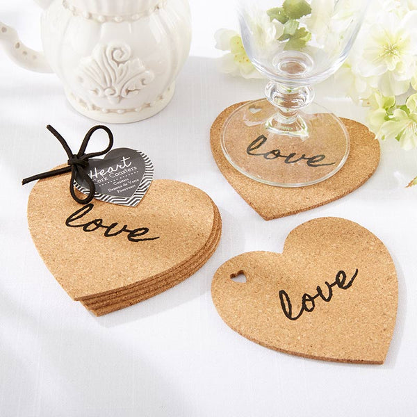 """Hearts & Love"" Cork Coasters Favors - Sweet Heart Details"