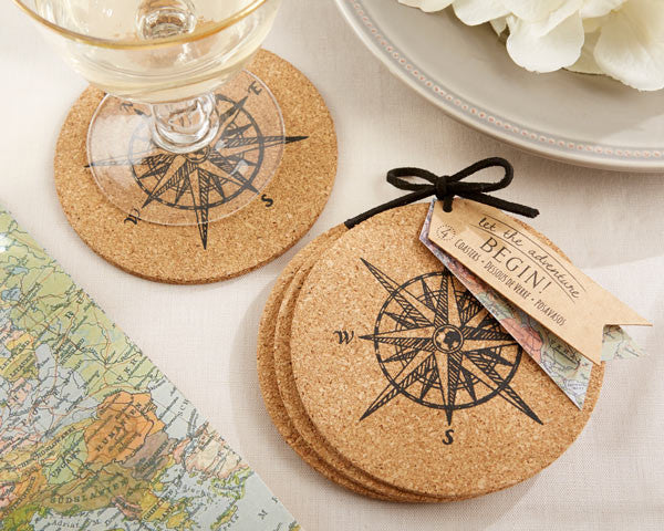 Let the Adventure Begin Cork Coasters (48)-Wedding Favors & Favor Holders-Kate Aspen-Sweet Heart Details