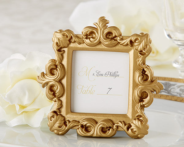 """Royale"" Gold Baroque Place Card/Photo Holder (set of 24)-Placecard Holders-Kate Aspen-25158GD-Sweet Heart Details"