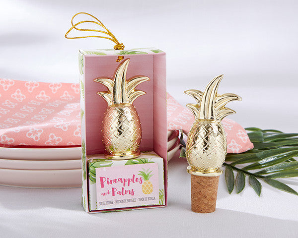Gold Pineapple Bottle Stoppers (12)-Wedding Favors & Favor Holders-Kate Aspen-Sweet Heart Details