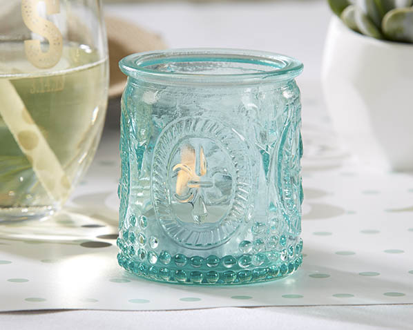 """Vintage"" Blue Glass Tealight Holder (Set of 4)-Wedding Decorations-Kate Aspen-Sweet Heart Details"