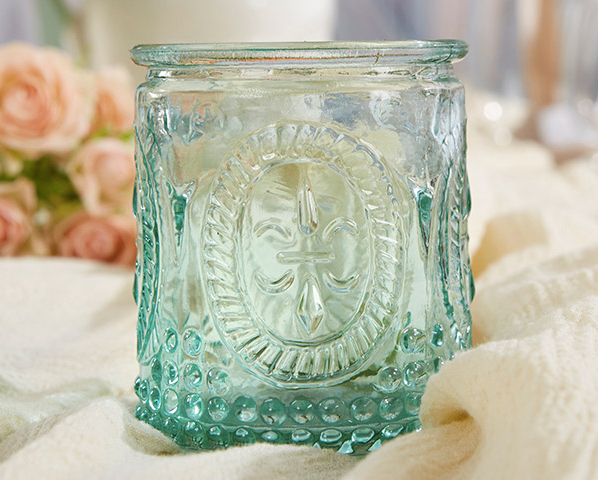 """Vintage"" Blue Glass Tealight Holder (Set of 4) - Sweet Heart Details"