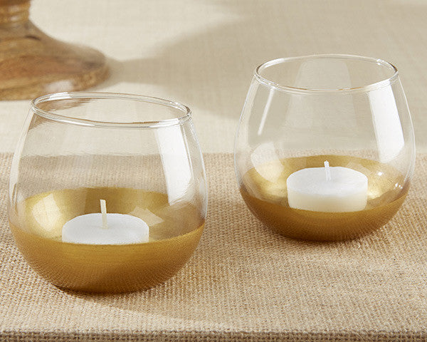 Gold Dipped Glass Votive Holders-Wedding Decorations-Kate Aspen-Sweet Heart Details