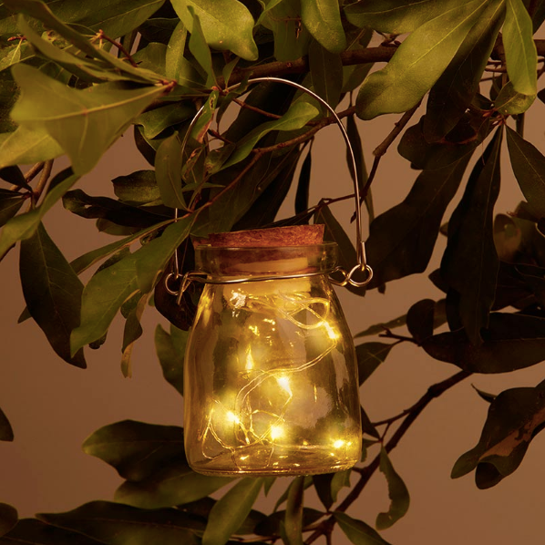 Hanging Blue or Clear Jar With Fairy Lantern Lights (Set of 20) - Sweet Heart Details