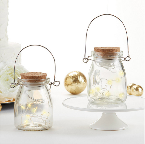 Hanging Blue or Clear Jar With Fairy Lantern Lights (Set of 20)-Lanterns, Candles-Kate Aspen-Sweet Heart Details