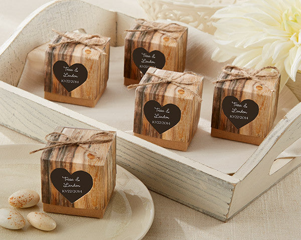 """Hearts in Love"" Rustic Favor Box (48)"