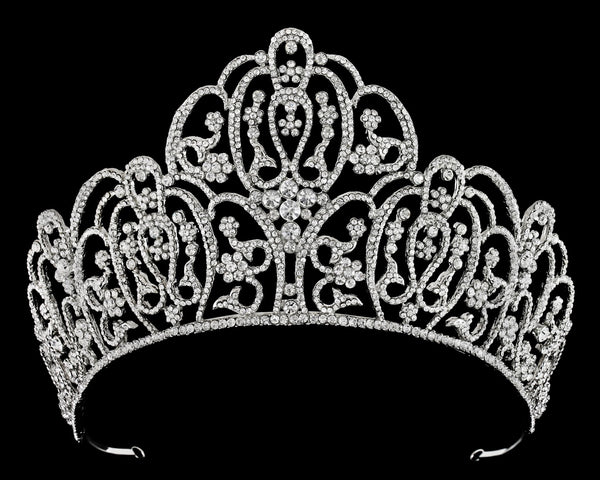 """The Gloria"" High Rhinestone Tiara-T-56947-Sweet Heart Details"
