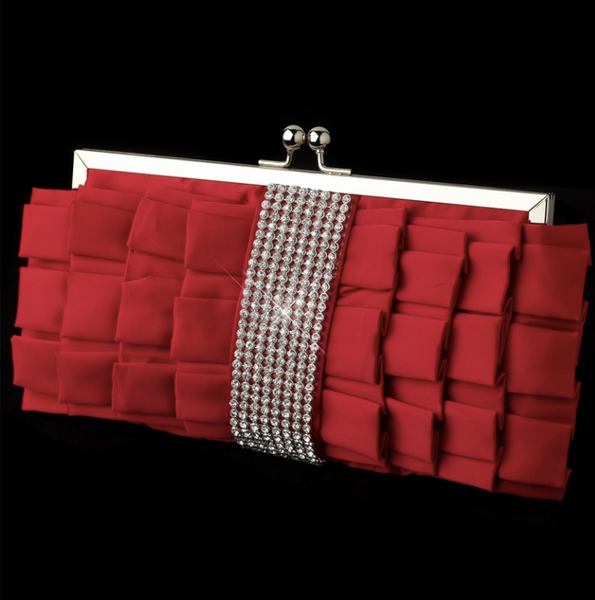"""The Dita"" Satin Ruffle Evening Bag - Sweet Heart Details"