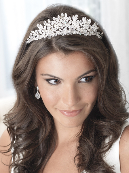 """The Brandi"" Floral Cascade Swarovski Crown-Tiaras & Headbands-USA Bride-TI-3233-Sweet Heart Details"