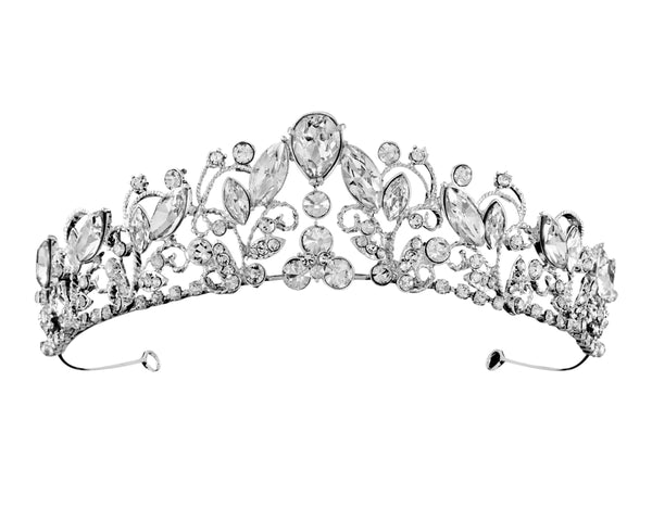"""The Dorothy"" Enchanting Rhinestone Tiara-T-56436 Silver-Sweet Heart Details"