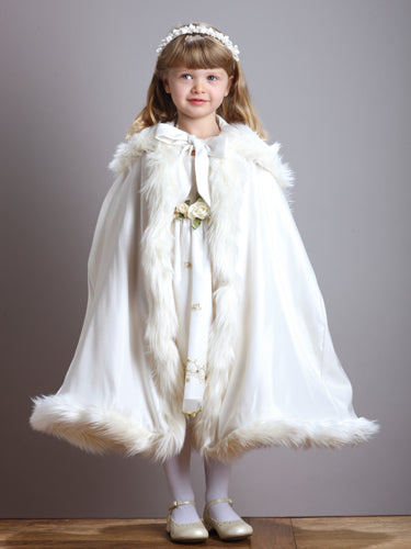 Children's Hooded Satin Cape with Faux Fur Trim-Wraps, Capes, Capelets, Stoles-Mariell-Sweet Heart Details