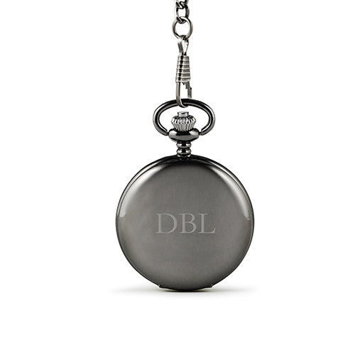 Personalized Engraved Satin Gunmetal Pocket Watch