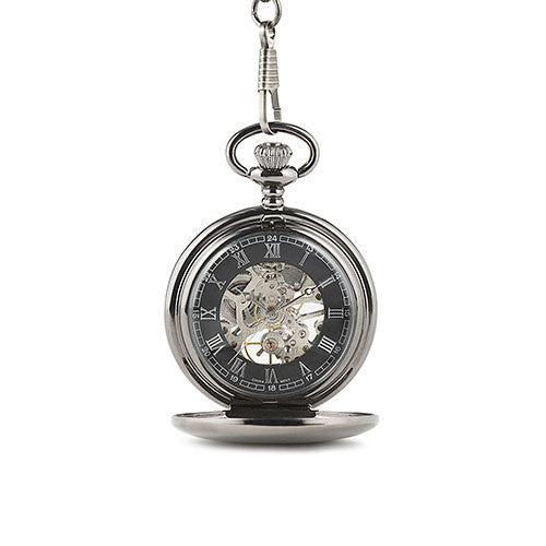 Personalized Gunmetal Mechanical Pocket Watch