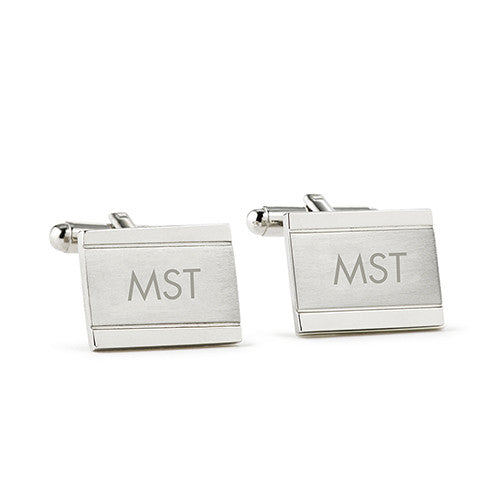 Monogrammed Classic Edward Cuff Links Rhodium Plated