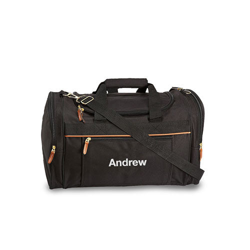 Men's Personalized Weekender Duffle Bag (Black / Grey)