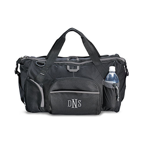 Men's Monogrammed Exploration Duffle Bag (Black/Blue)