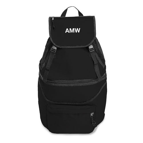 Monogrammed Expandable Cooler Backpack (Black/Blue)