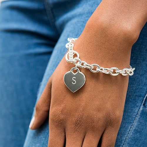 Silver Plated Heart Link Bracelets (3)-Bridesmaid Gifts-Wedding Star-41094-Sweet Heart Details