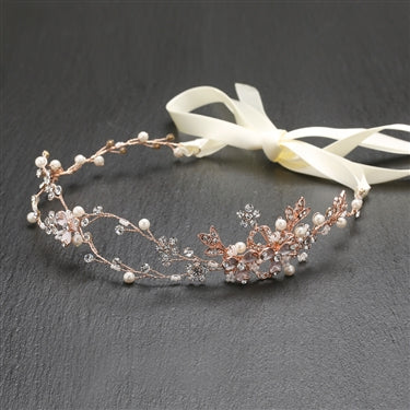 Designer Handmade Bridal Headband with Painted Floral Vines - Sweet Heart Details