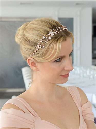 Designer Handmade Bridal Headband with Painted Floral Vines-Tiaras & Headbands-Sweet Heart Details