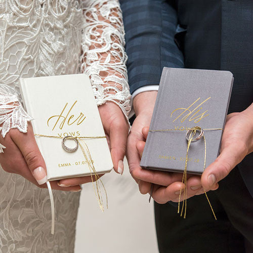 Personalized Ivory Linen Pocket Journal - His Vows Emboss