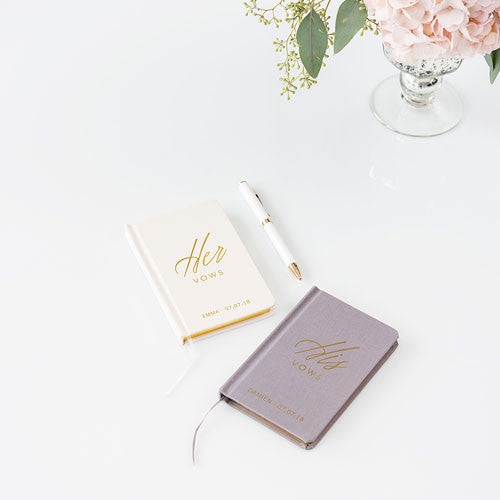 Personalized Linen Pocket Journal - Her Vows Emboss