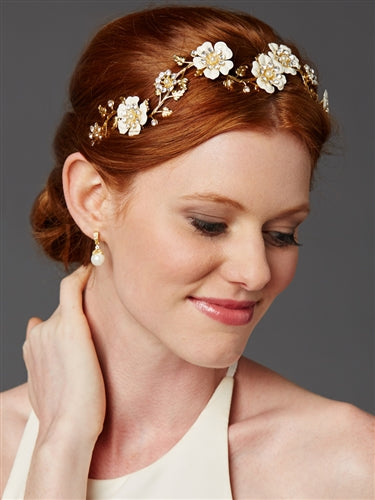 Designer Hand-Enameled Blossom Golden Headband