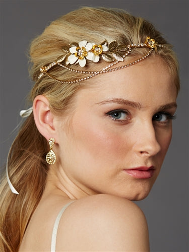 Hand-Enameled Floral Headband Crown with Preciosa Crystal Drapes - Sweet Heart Details