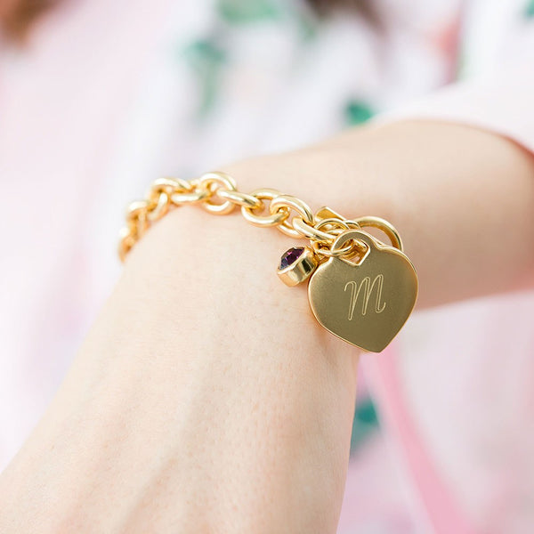 Gold Plated Heart Link Bracelet with Gem - Sweet Heart Details